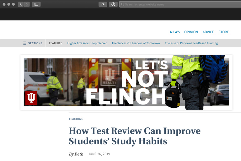 Digital ad with EMTs, an IU Health ambulance, and the headline 'Let's Not Flinch'
