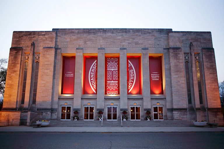 The IU Auditorium on the Bloomington campus, displaying the IU seal