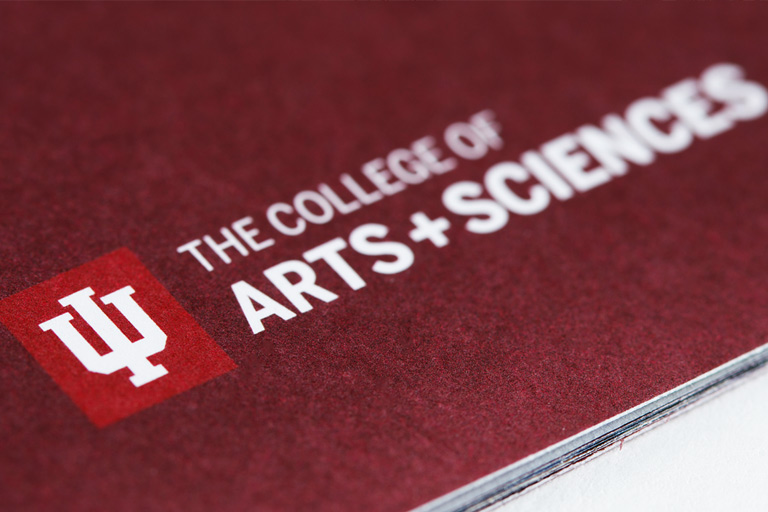 Printed brochure with the IU College of Arts and Sciences lockup