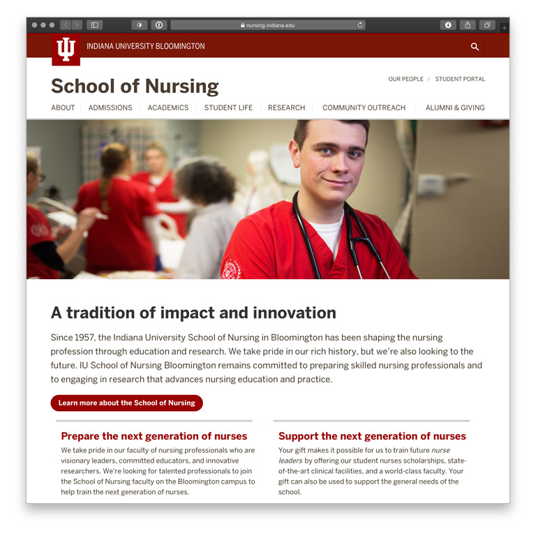 IU Bloomington School of Nursing website home page, with nursing students and the headline 'A tradition of impact and innovation'