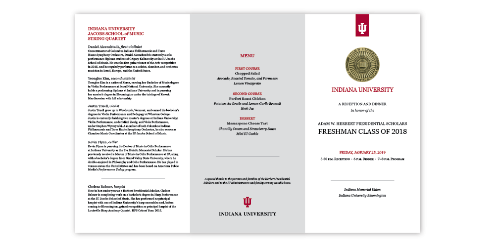 "Example of event program trifold ""Presidential Scholars Freshman Class of 2018"""