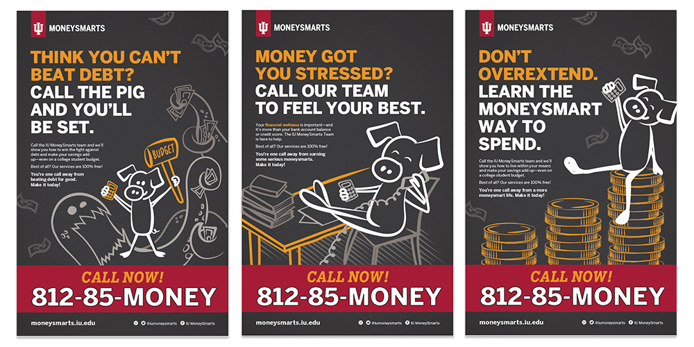 "Three posters from the MoneySmart compaign titled ""Think you can't beat debt?"", ""Money got you stressed?"", ""Don't overextend""."