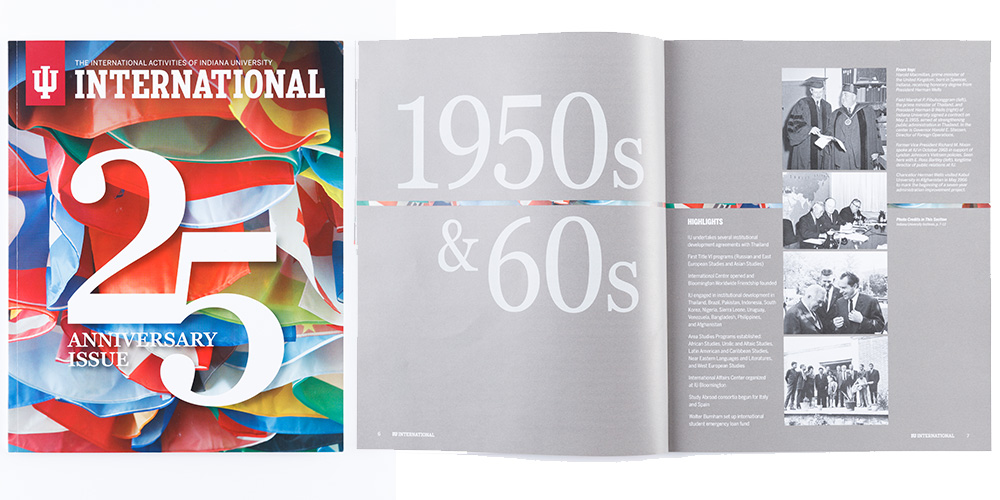 "Magazine titled ""International 25 anniversary issue"" with thew first page showing 1950s and 60s timeline."
