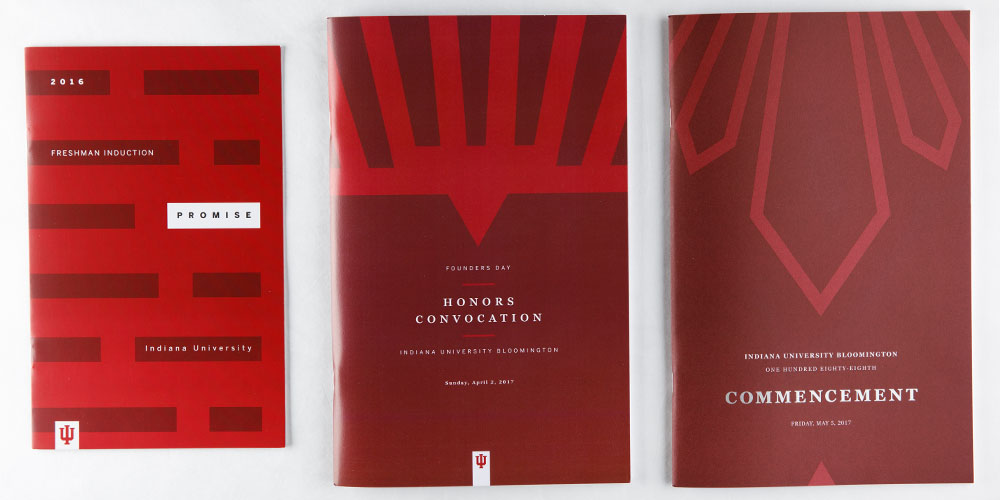 "Three example event programs for ""Freshman induction"", ""Honors convocation"", and ""Commencement""."