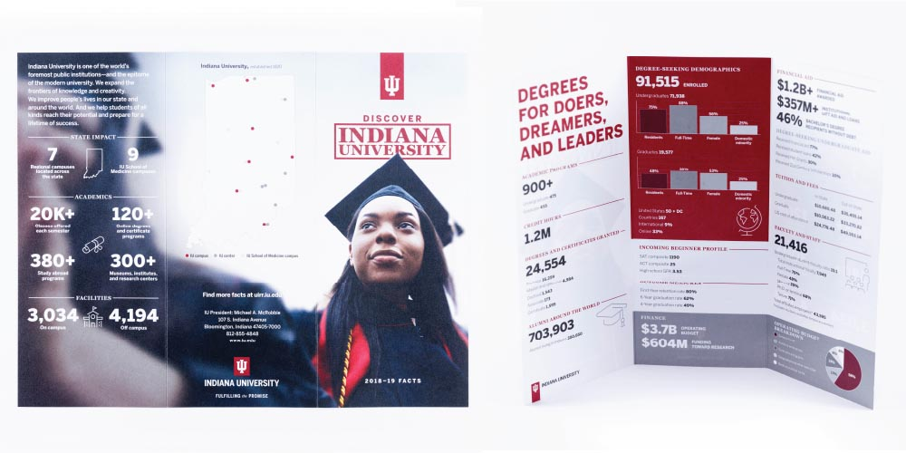 Brochure for recruiting students showing statistics and graphs.