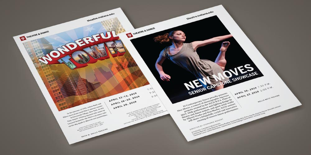 Two posters from the IU Theater and Dance program