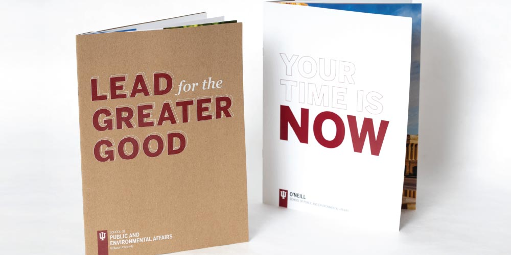 Undergraduate and graduate viewbooks for IU O'Neill School of Public and Environmental Affairs