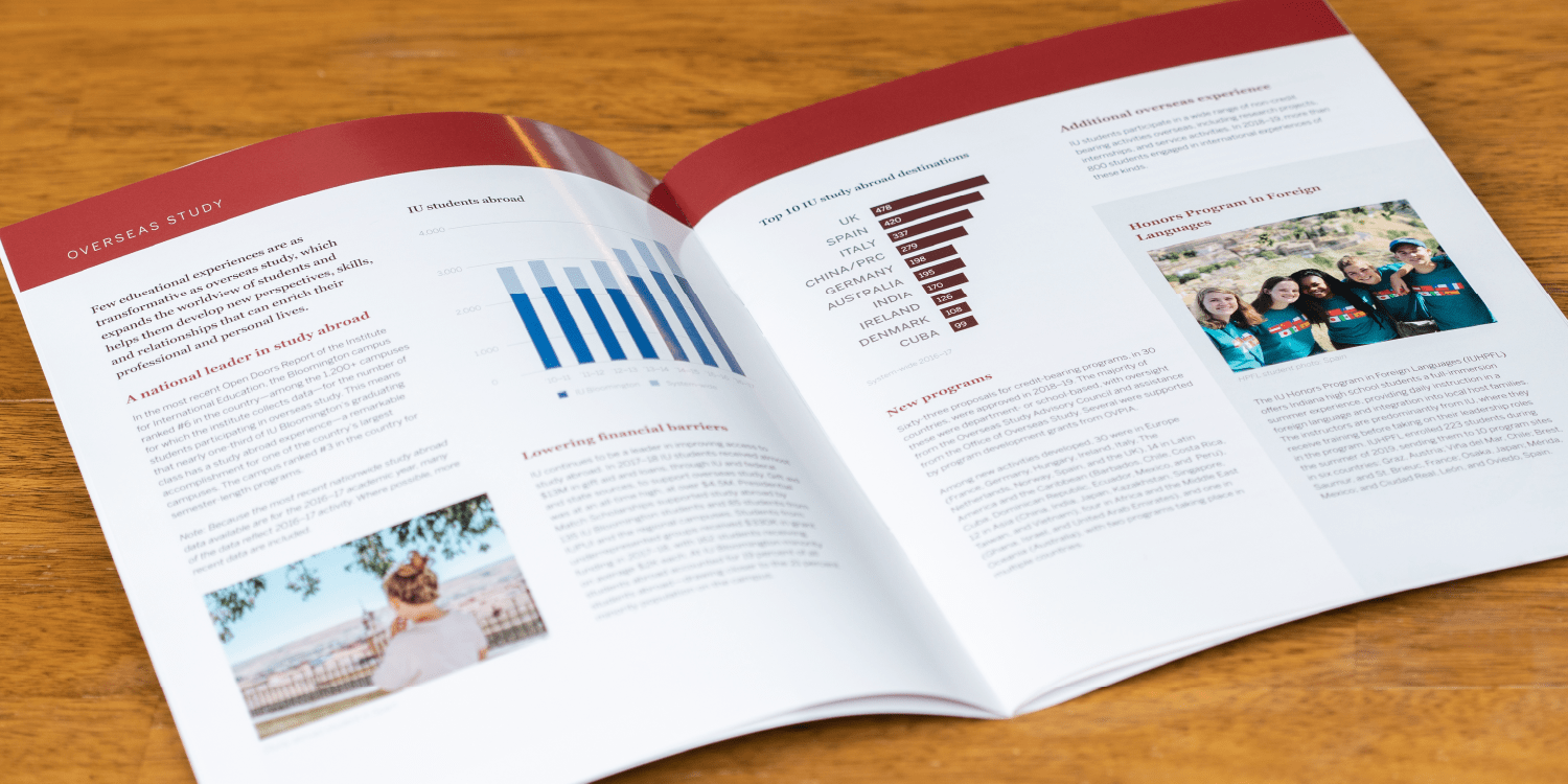 Open spread of text, photos and charts in annual report
