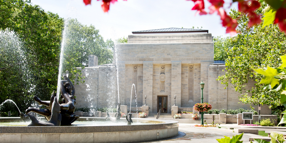 Showalter fountain and Lilly Library