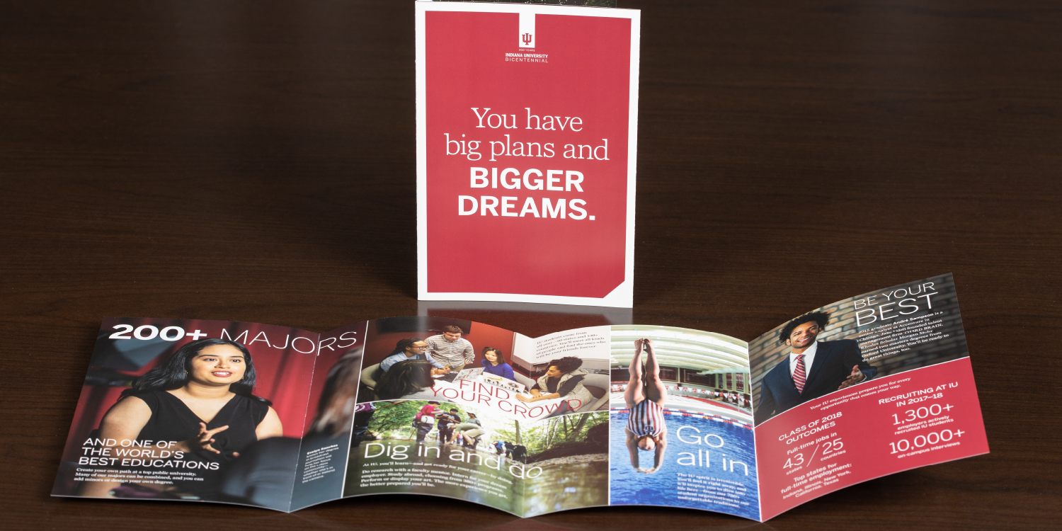 """Four-panel brochure titled """"You have big plans and bigger dreams."""""""