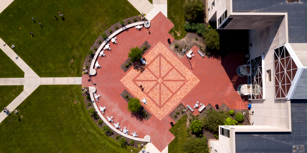 Looking down on IUPUI library