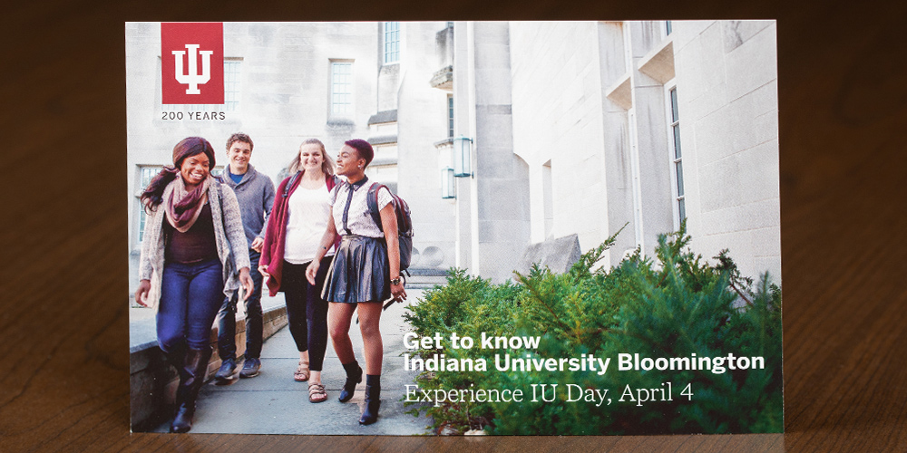 """Postcard with headline """"Get to know Indiana University Bloomington"""""""
