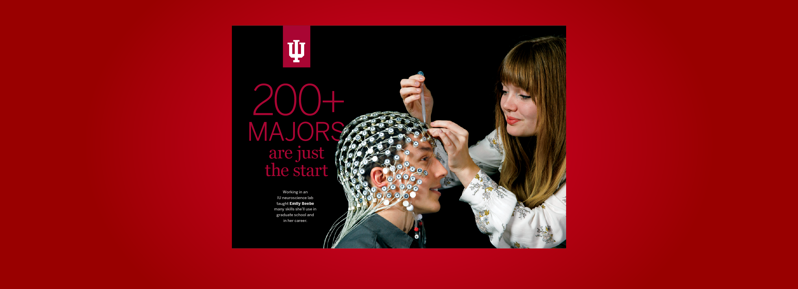 """Postcard with headline """"200+ Majors are just the start"""" on a red background"""