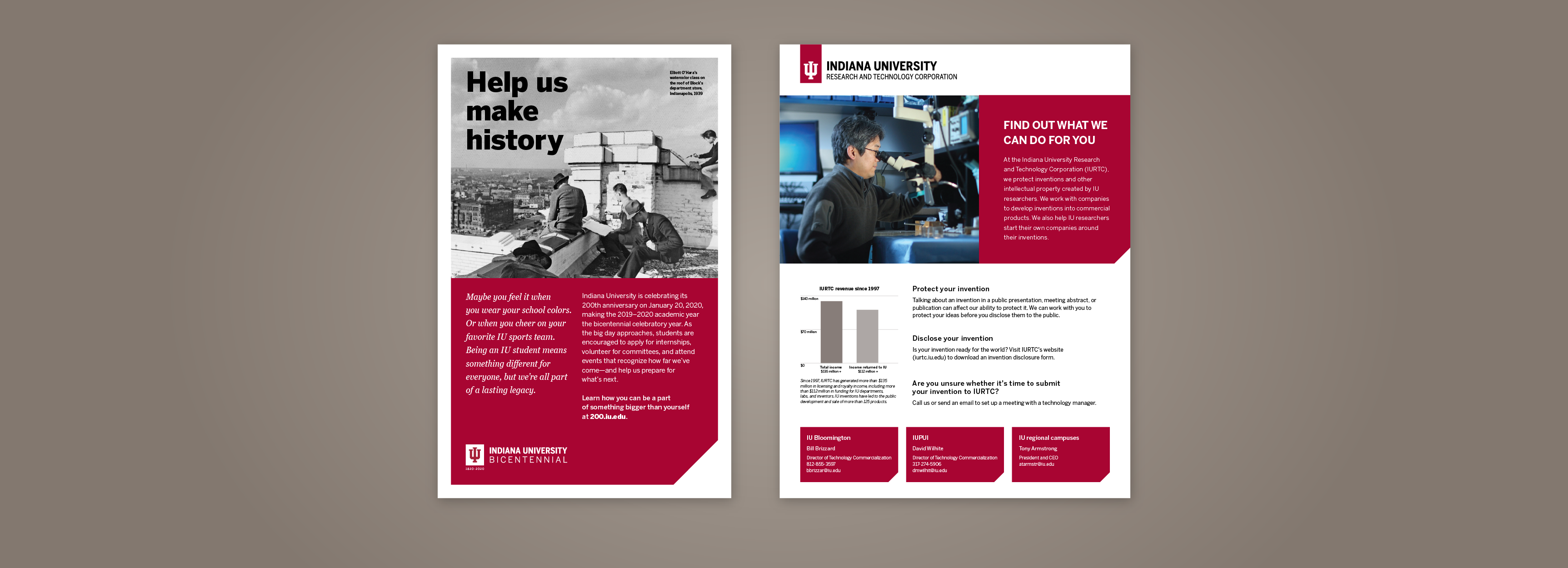 Two examples of flyers, one for the IU Bicentennial and one for Research and Technology Corporation