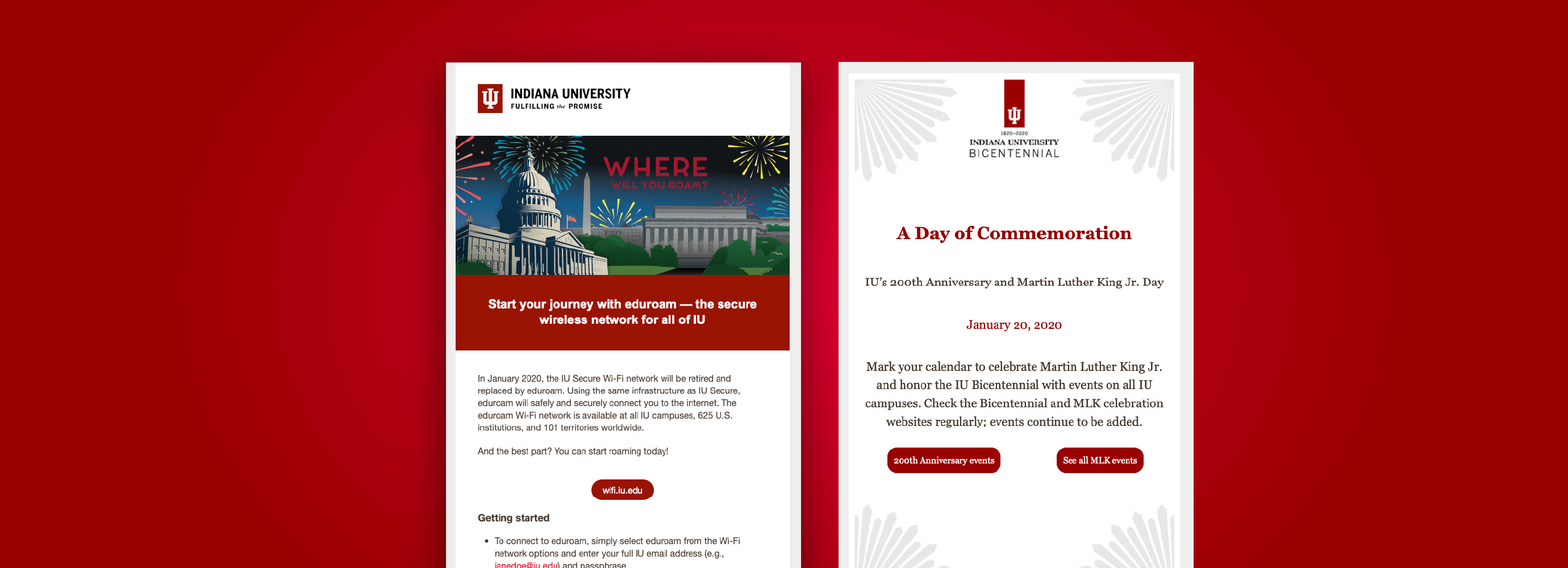 Two email examples on a red background