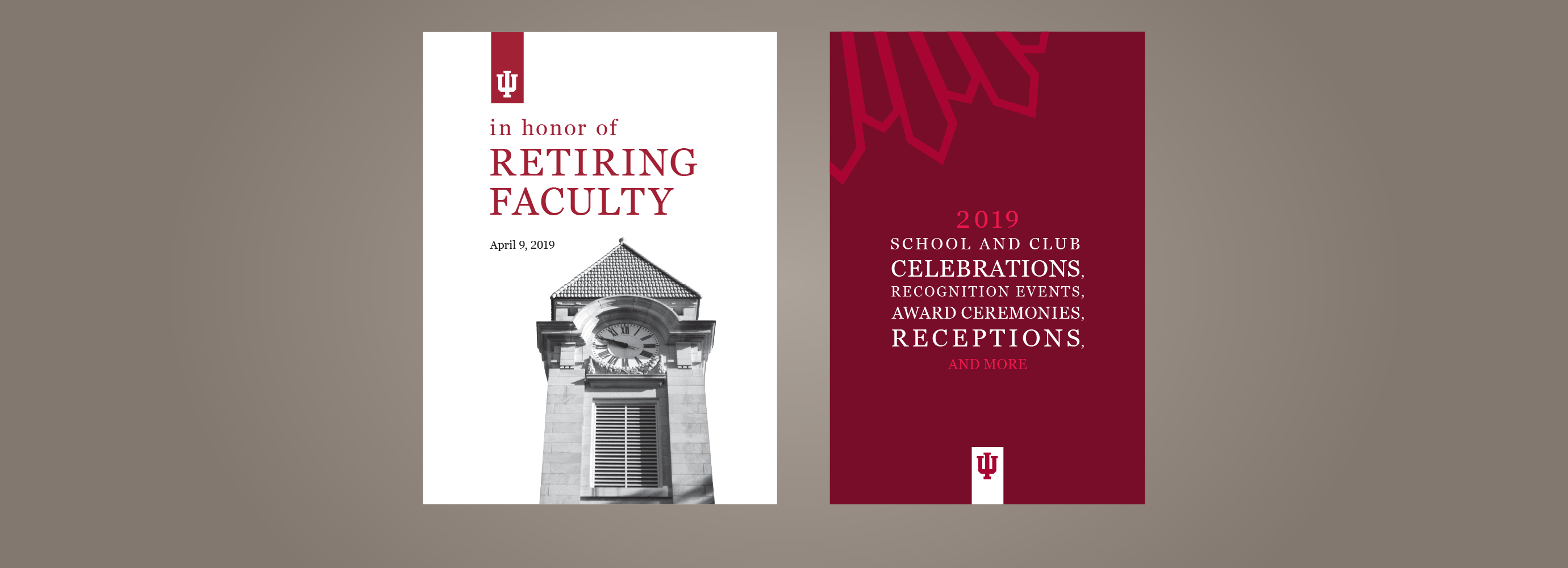 Two event programs—one for a retiring faculty event and one for school and club events and awards