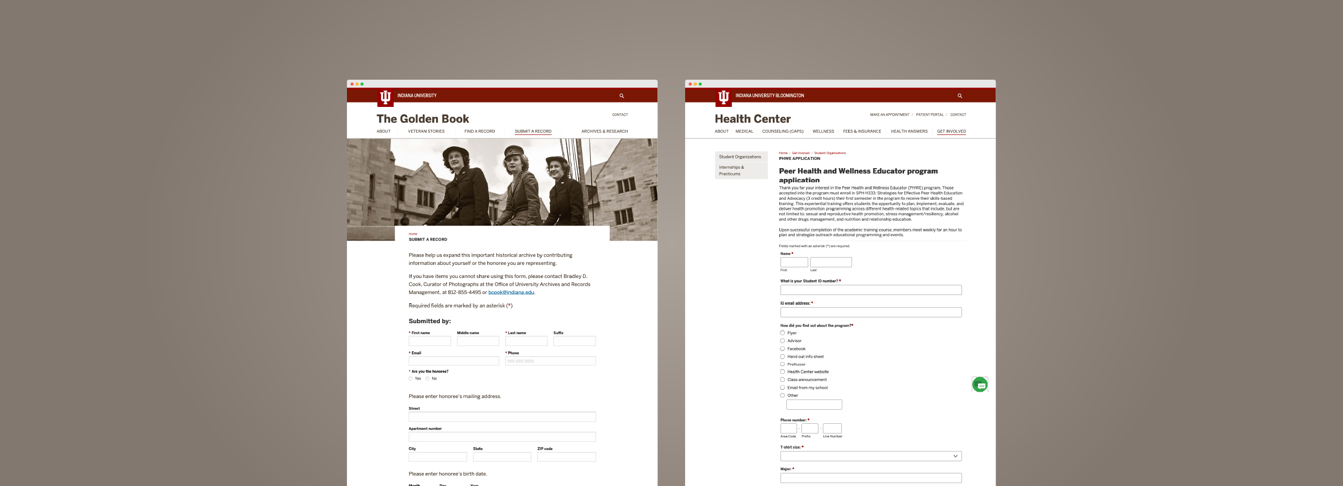Two website page examples using MachForm