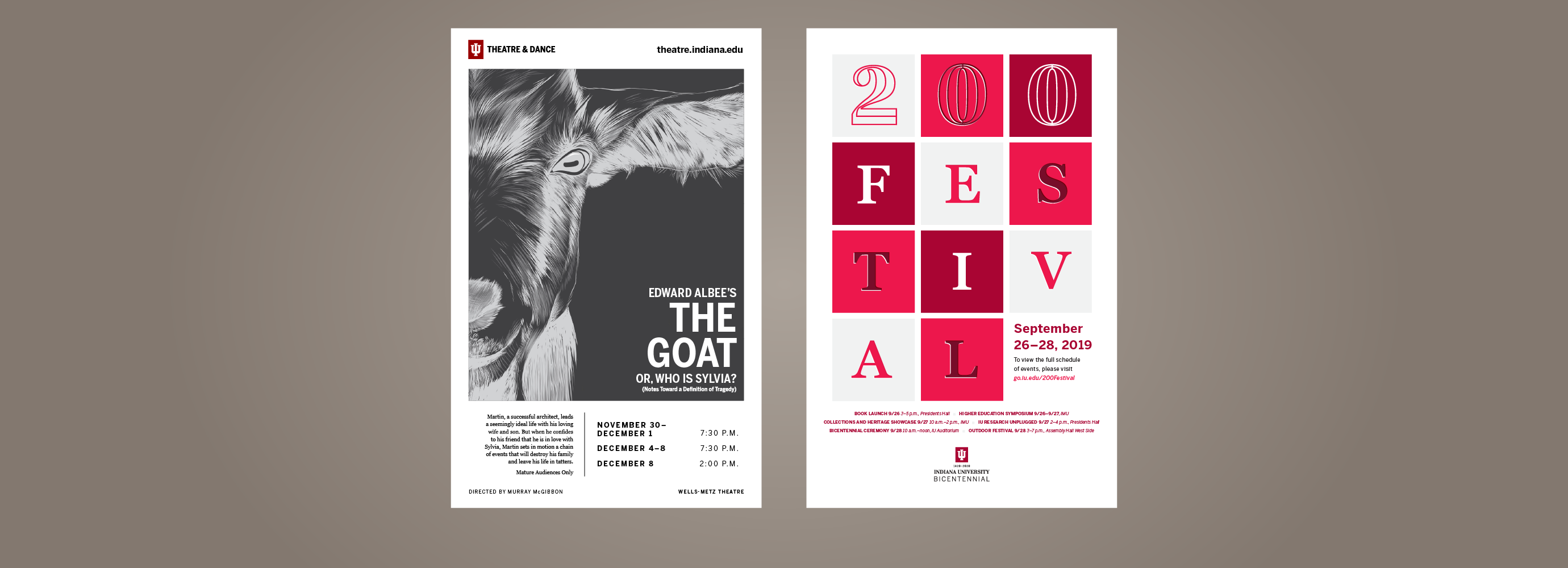 "Two posters, one for the the play ""The Goat"" and one for IU Bicentennial 200 Festival"