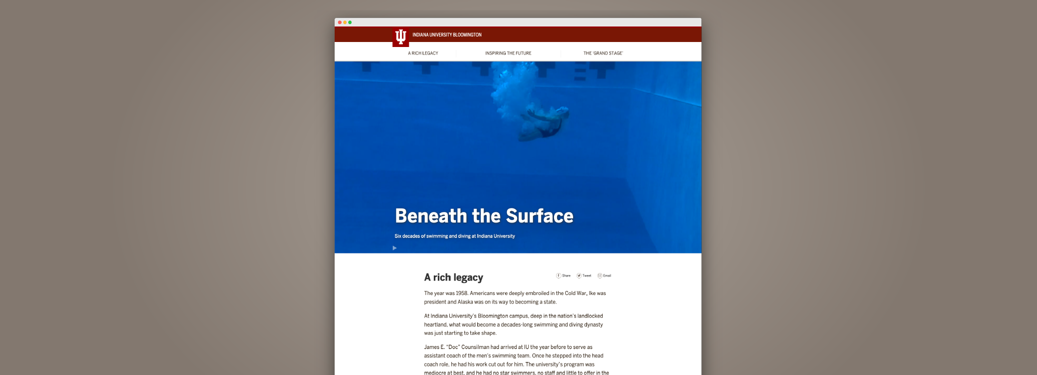 """Example of the landing page """"Beneath the Surface"""""""