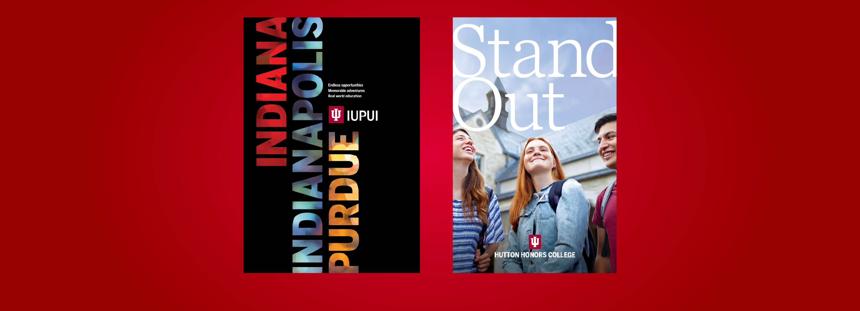 IUPUI and Hutton Honors College viewbooks on red background