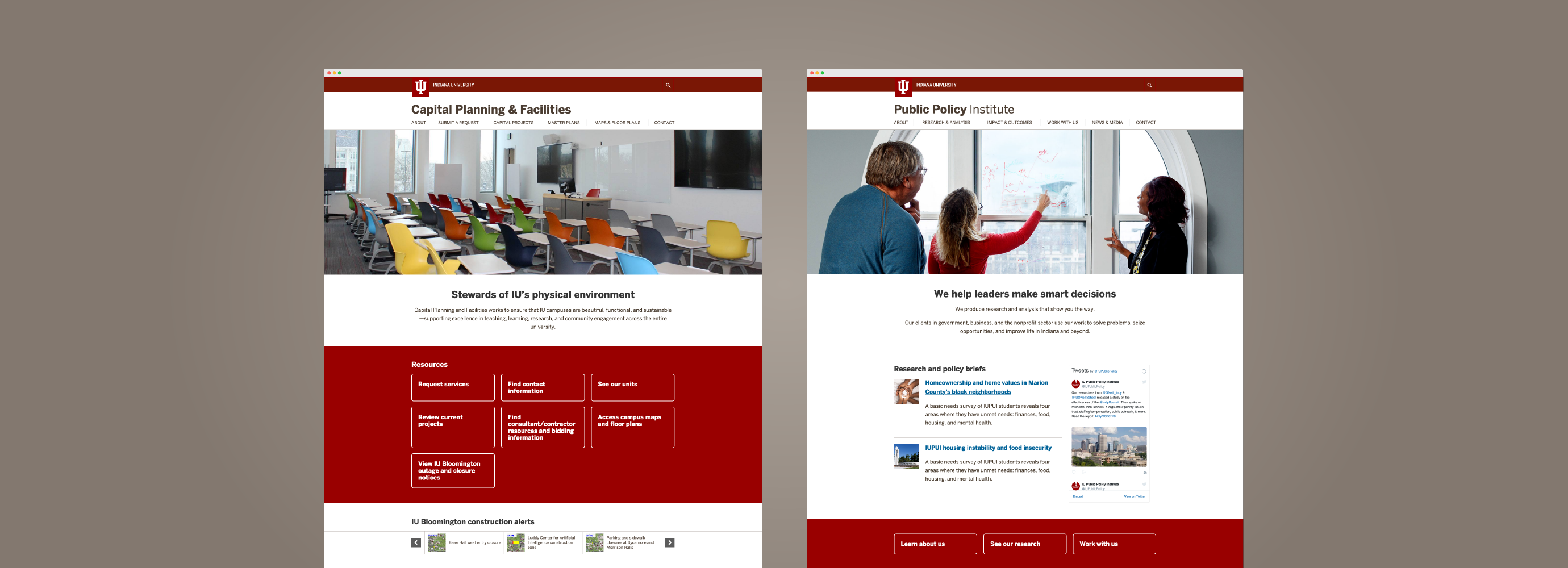 Examples of two webpages — Capital Planning & Facilities and the Public Policy Institute
